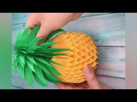 DIY Paper Pineapple Origami Easy Simple making Pineapple for Kids Fun