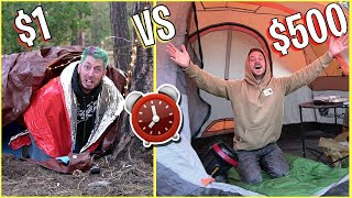 OVERNIGHT SURVIVAL CHALLENGE - $1 vs $500 FORTS!