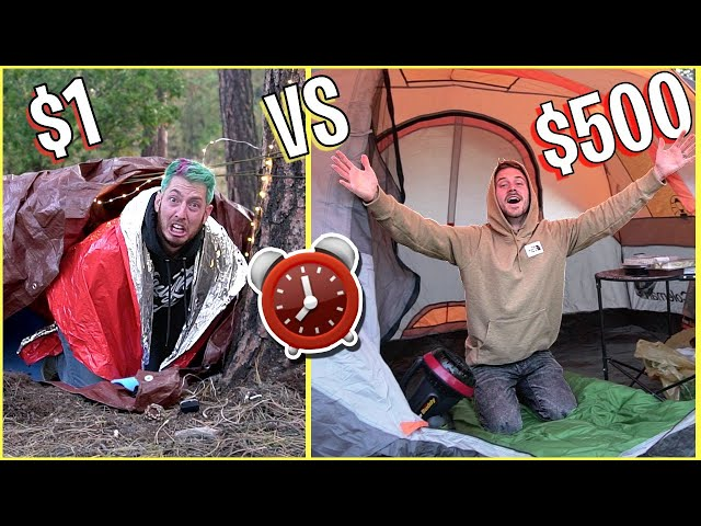 OVERNIGHT SURVIVAL CHALLENGE - $1 vs $500 FORTS!