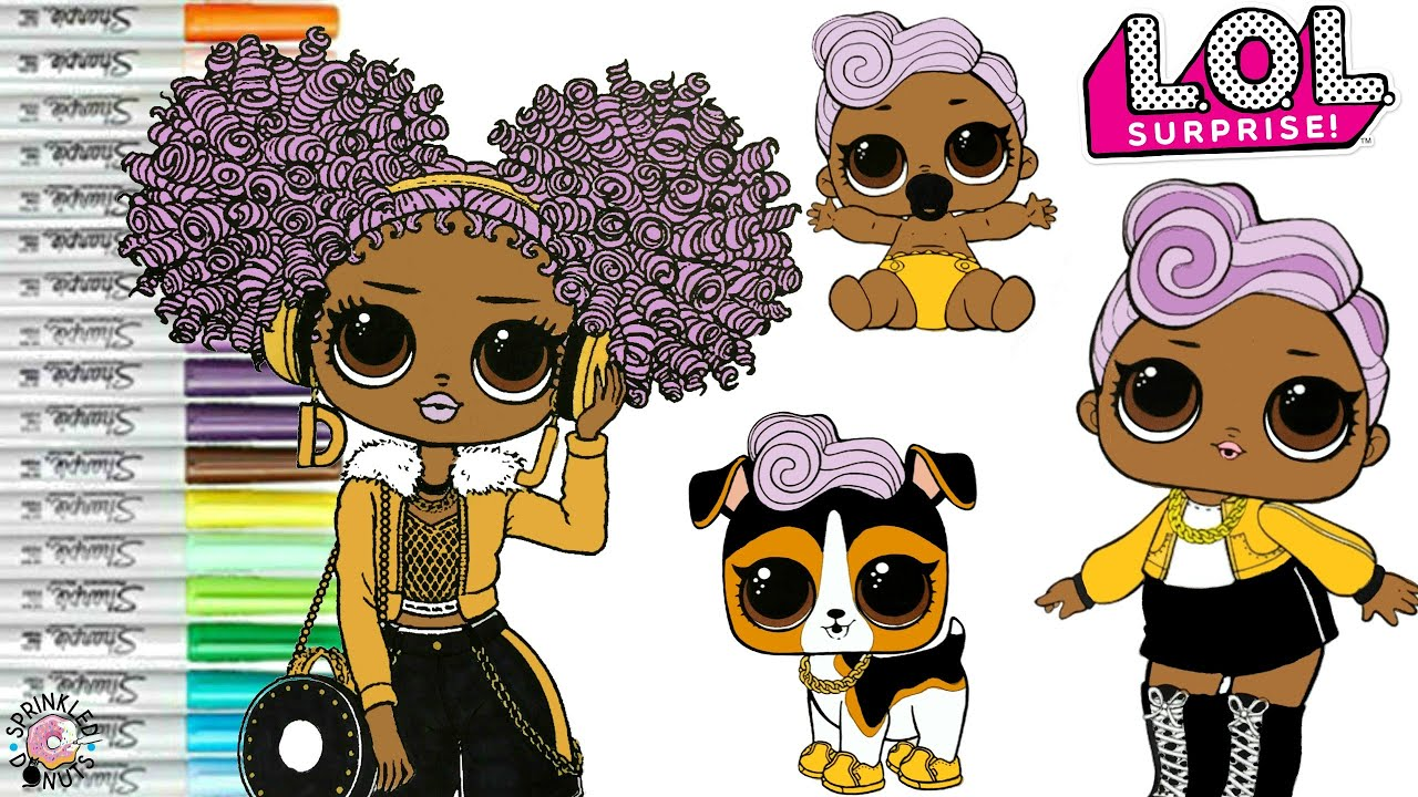 Lol Surprise Dolls Coloring Book Page Dj Family Lol O M G Winter Disco 24k Dj Lil Sister Djk9 Youtube