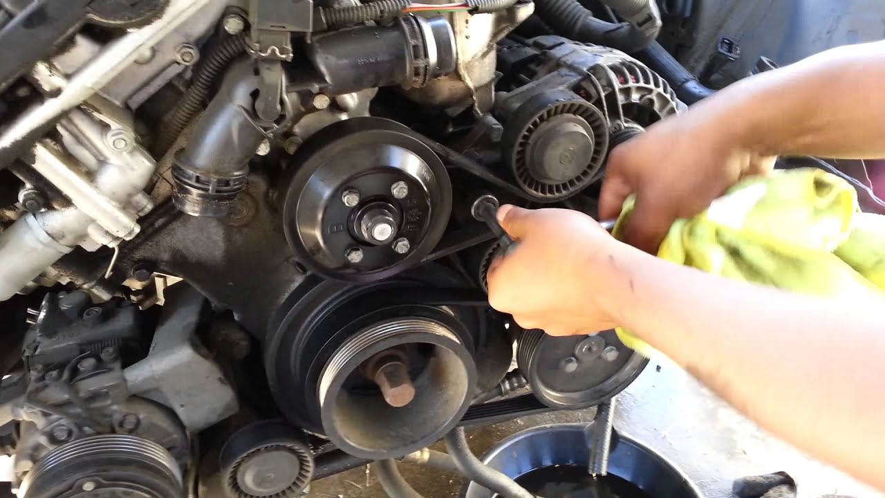 Bmw 530 330 serpentine and AC belt removal e46 e39  YouTube