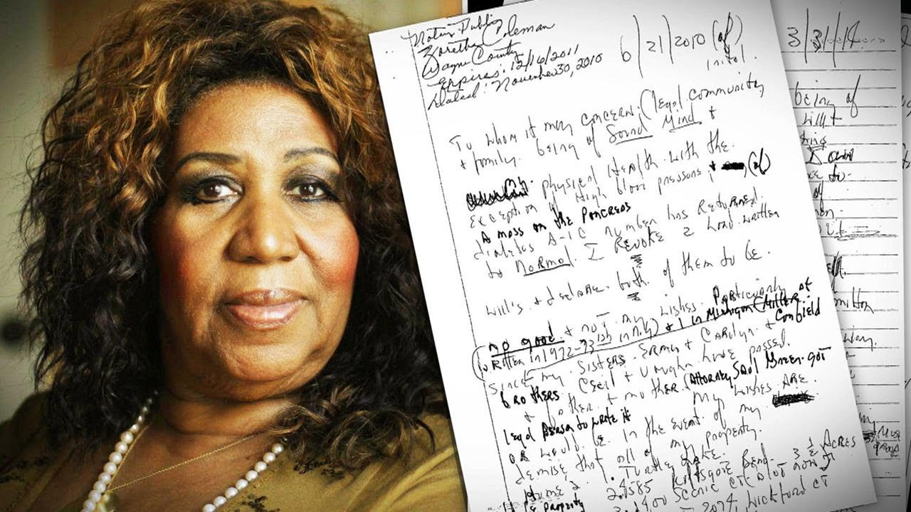 Aretha Franklin Hid 3 Handwritten Wills at Home
