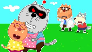 No No! Wolfoo's Friend #StayHome and Play with Robot Dad | Wolfoo Family Kids Cartoon