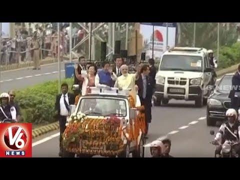 Japan PM Shinzo Abe Starts Gujarat Tour With Roadshow   V6 News