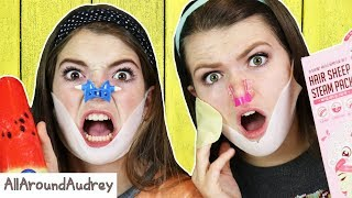 TRYING WEIRD KOREAN BEAUTY PRODUCTS FOR THE FACE! / AllAroundAudrey