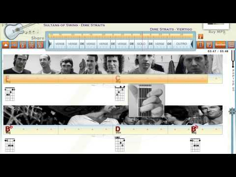 Sultans Of Swing - Dire Straits - Guitaraoke - www.playwhatyoufeel - Chords & Lyrics