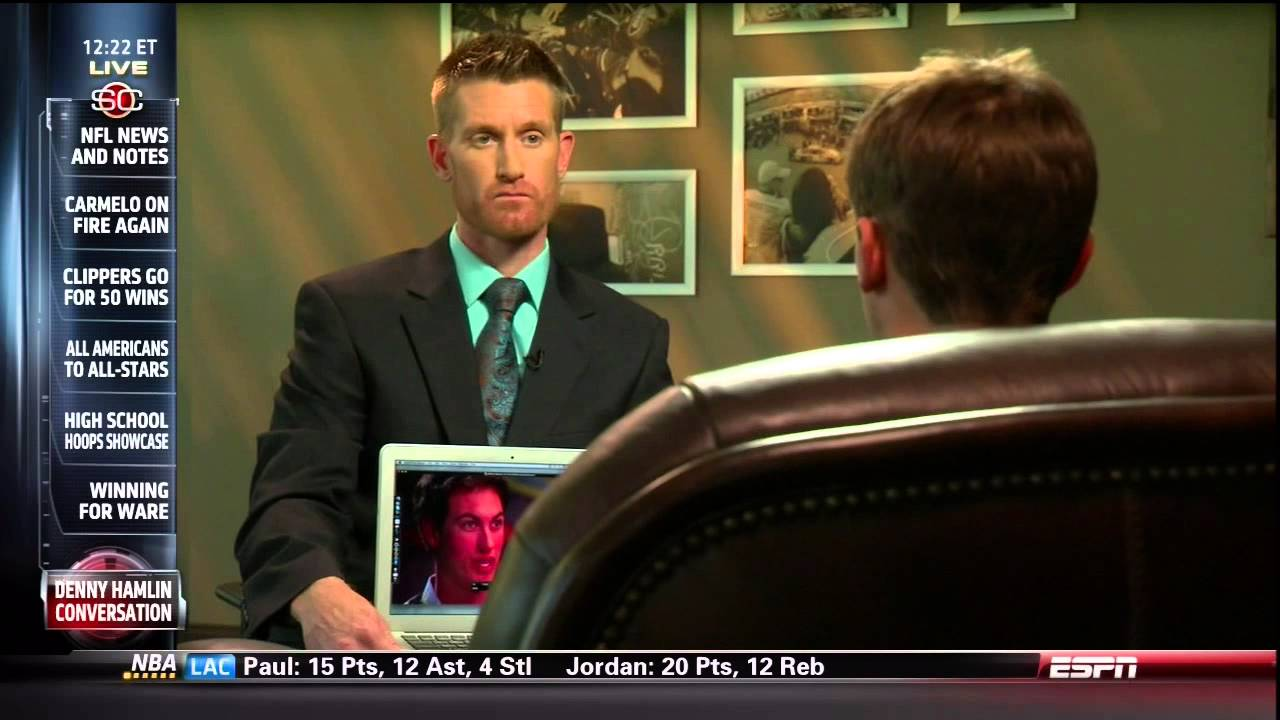 Denny Hamlin on Sports Center Discussing the Joey Logano Incident