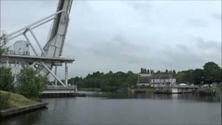 Bascule bridge opening: The Pegasus Bridge, Normandy, France.