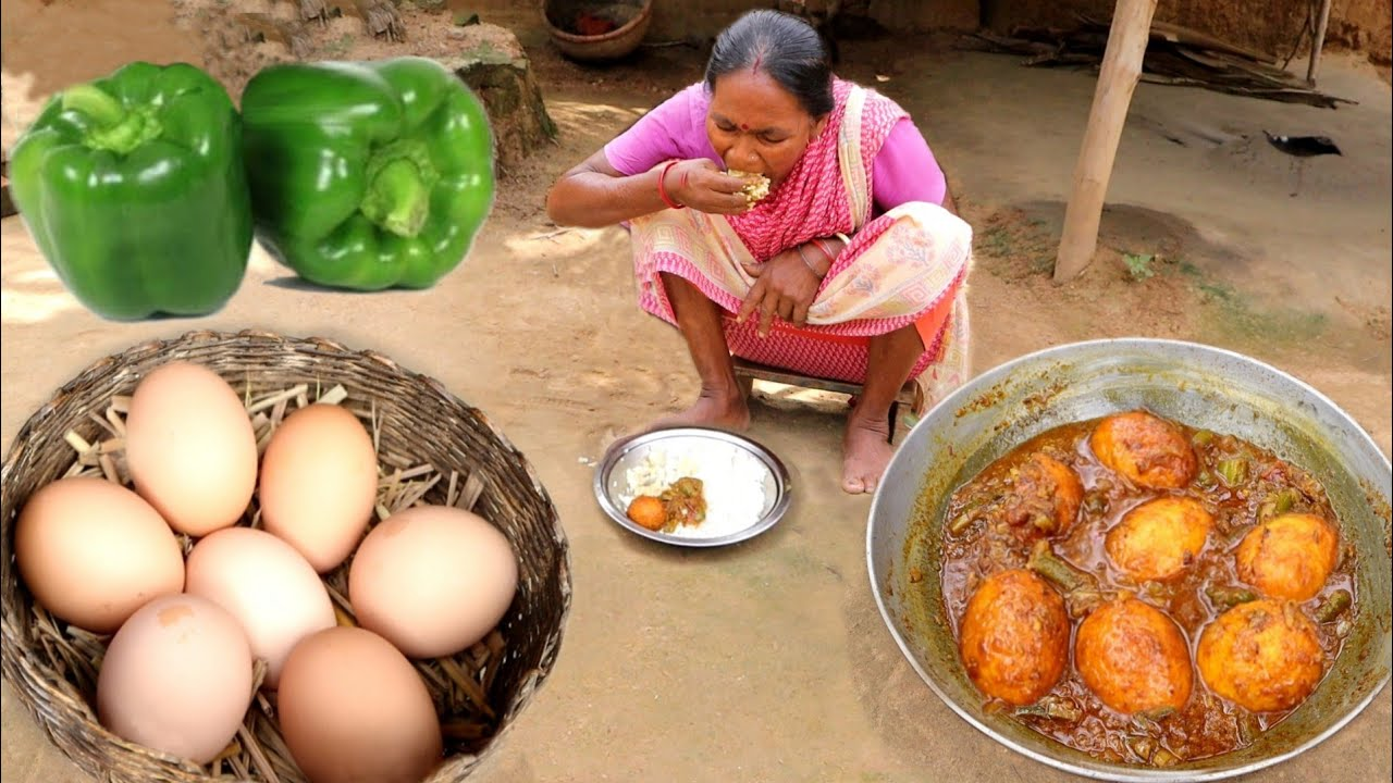 Download COUNTRY EGG curry cooking & eating with rice by santali tribe grandma || rural India orissa