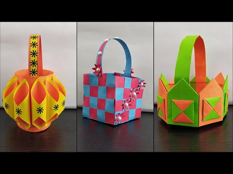 3 Beautiful Handmade Paper Basket || DIY Paper Basket || DIY Easter Basket With Paper