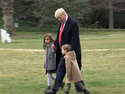 Thumbnail: Raw: Trump Departs White House with Grandkids