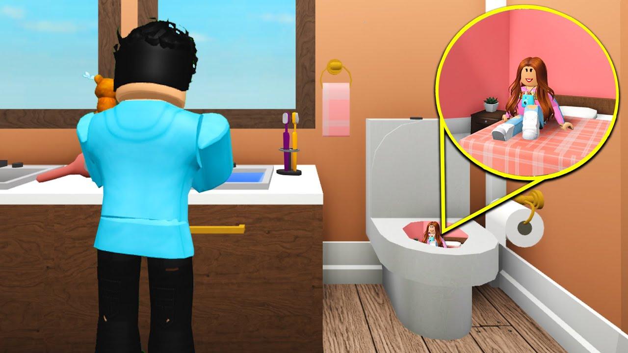 I Built A TINY Home Inside My Boyfriend's Bathroom! (Roblox Bloxburg)