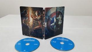 Captain America Civil War 3D Steelbook Bluray Movie unboxing