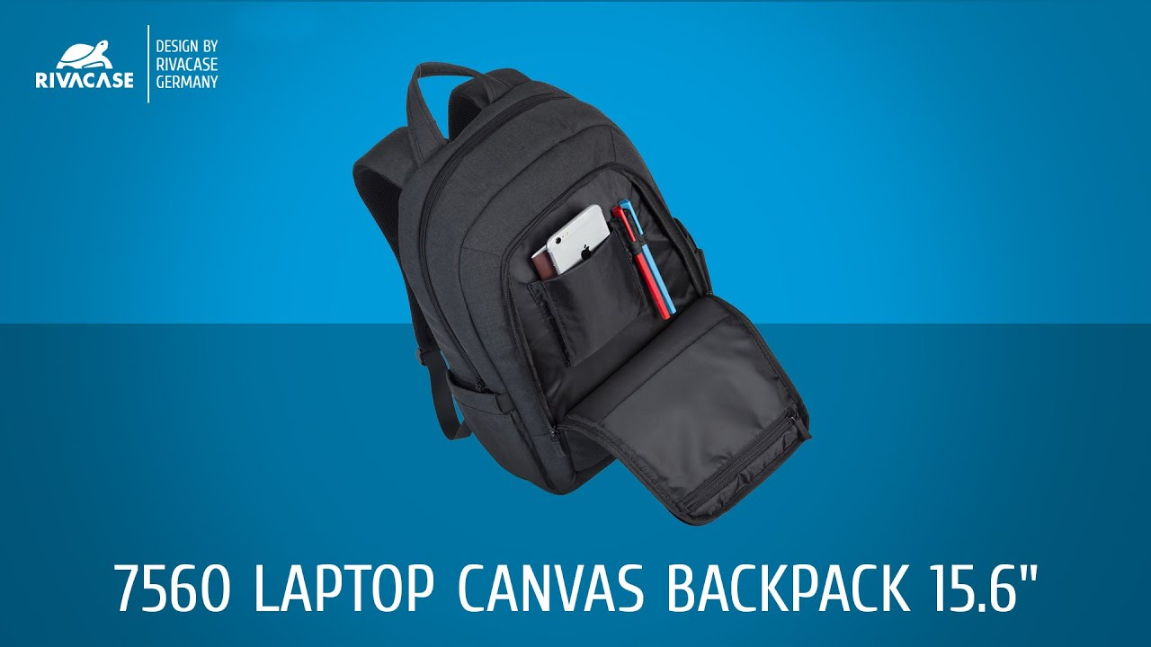 RIVACASE 7560 Laptop Canvas Backpack 15.6