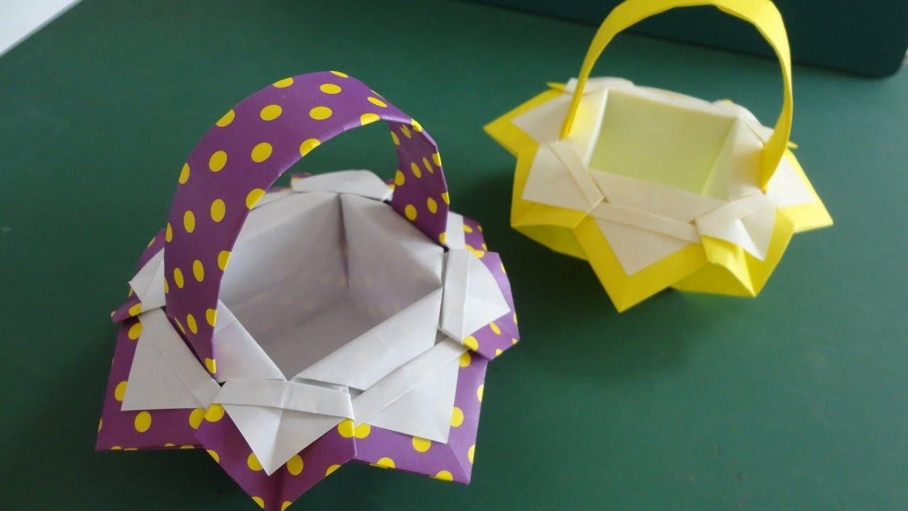 """すべての折り紙 折り紙 作り方 箱 : 折り紙「バスケット」3""""Basket ..."""