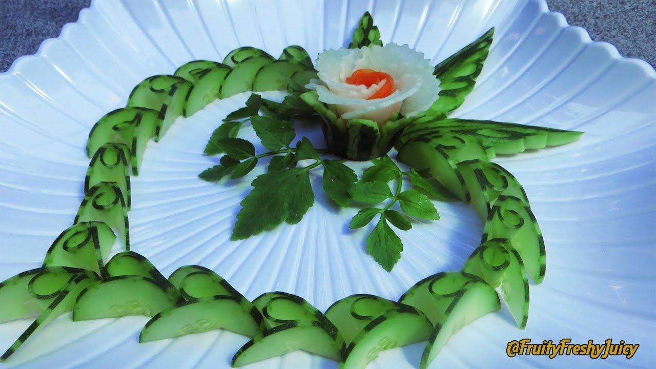 Lovely Carrot & Radish Flower with Cucumber Design – Popular Vegetable Carving Garnish