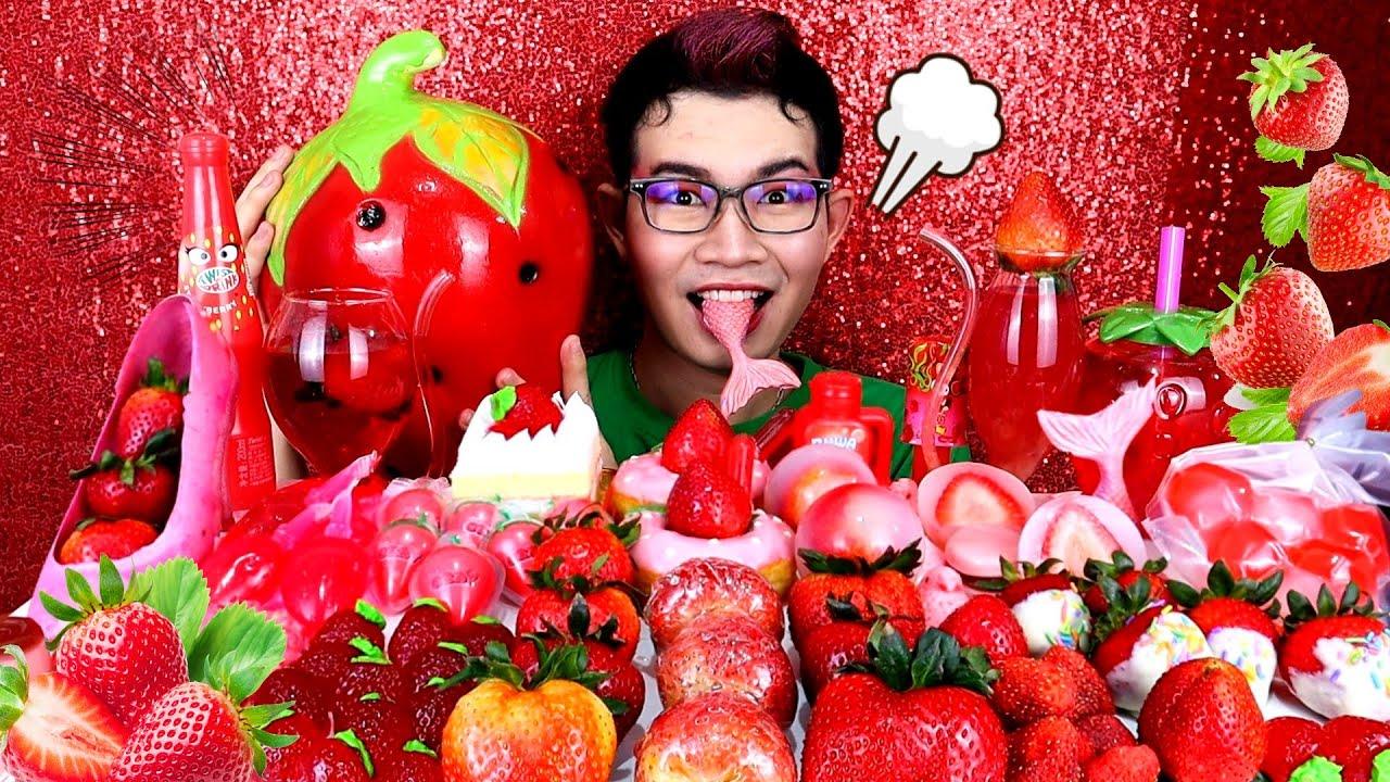 สตอเบอรี่ยักษ์ เคลือบน้ําตาล อาหารสีแดง #Mukbang #ASMR Giant Strawberry RED FOOD  딸기 레드 푸드:ขันติ