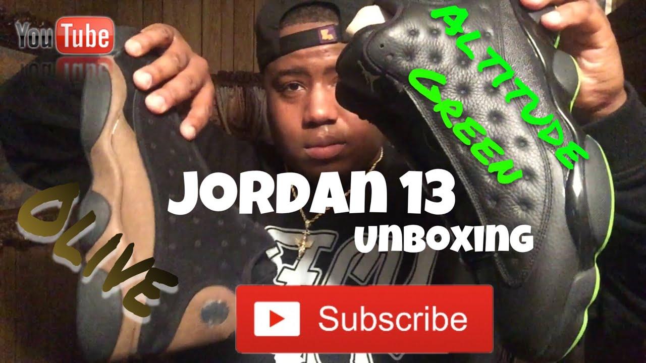 8172d23f4b0 Air Jordan 13 Olive (2018)   Altitude Green (2018) Unboxing - YouTube