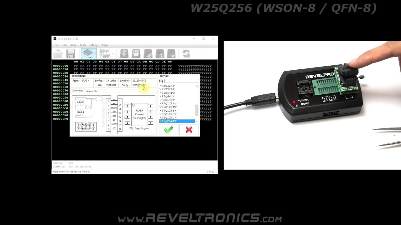 W25Q256FV WSON-8 8x6 package - REVELPROG-IS programmer