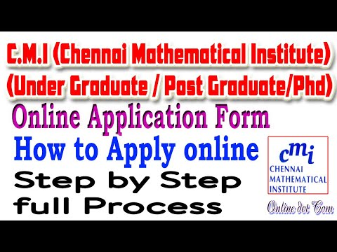 CMI Online Application Form 2020।। Chennai Mathematical Institute UG Application  2020 In Hindi।।