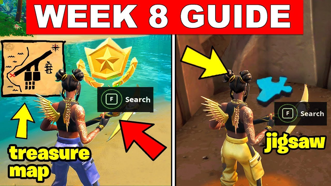 fortnite all season 8 week 8 challenges guide search the treasure map signpost jigsaw puzzle pieces - where is the treasure map signpost in fortnite battle royale