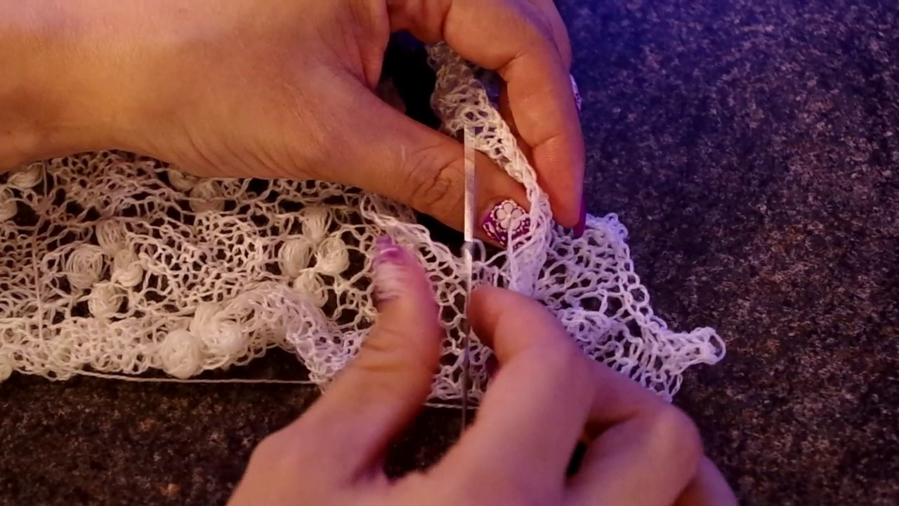 Sewing On The Lace Edging For Estonian Lace Shawl Youtube