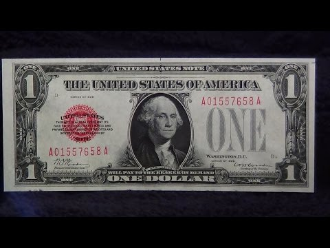 1928 Red Seal One Dollar Bill 1st Small Size Note