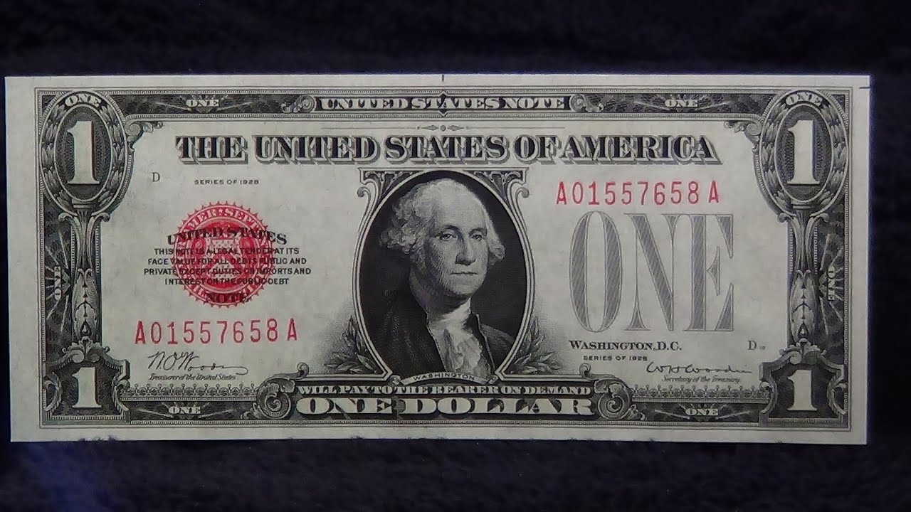 1928 red seal one dollar bill 1st small size note funnyback 1928 red seal one dollar bill 1st small size note funnyback paper money currency youtube xflitez Gallery
