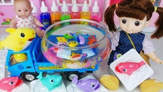 Baby doll and colors Slime Magic fish toys picture drawing play 아기인형 컬러 슬라임 매직 물고기 장난감 뽀로로 놀이 - 토이몽