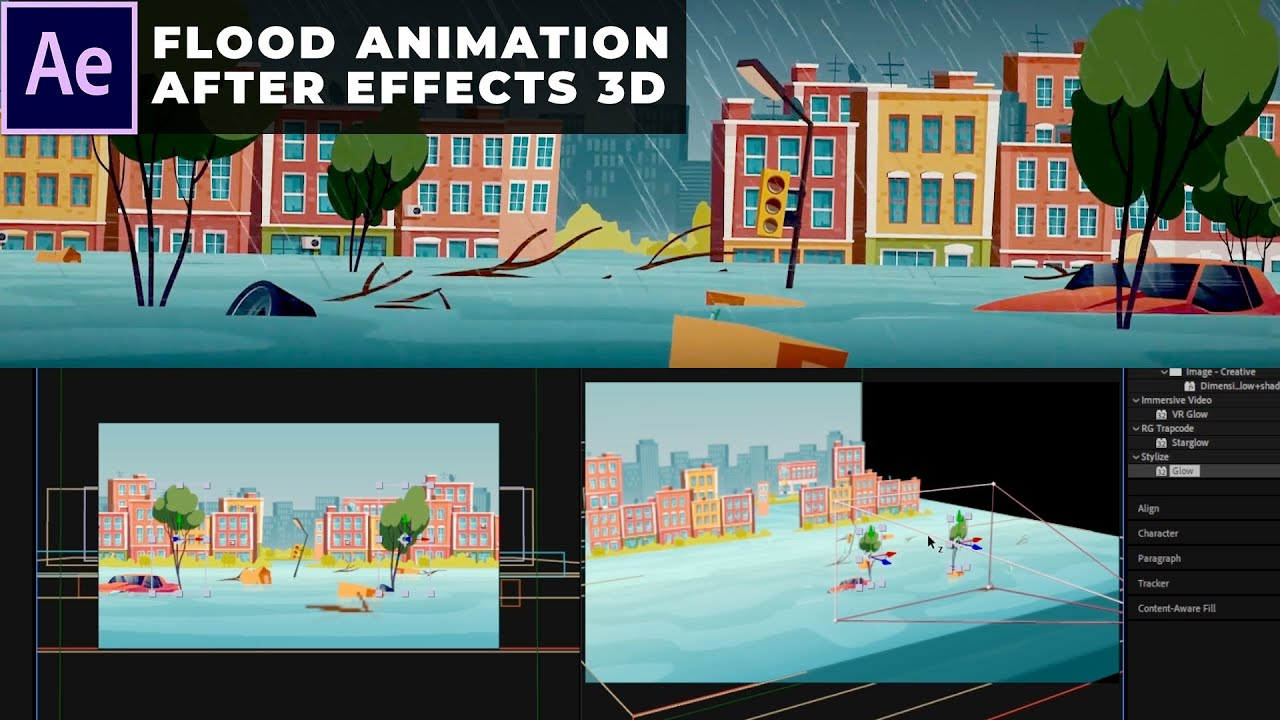 Flood Animation in After Effects 3D Tutorial | Without Plugins