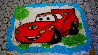 Детский торт МАКВИН для мальчика своими руками КАК украсить торт декор гелем Торт машинка