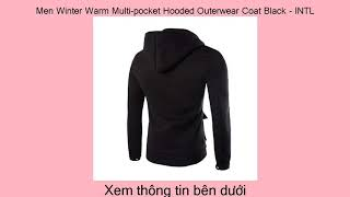 Tìm một cửa hàng bán Men Winter Warm Multi-pocket Hooded Outerwear Coat Black -