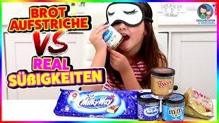 Brotaufstriche vs. Real Süßigkeiten CHALLENGE - Was schmeckt besser? Geschichten und Spielzeug