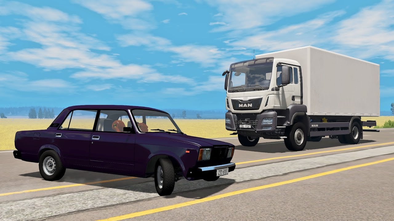 BeamNG Drive - Реконструкция Аварии Ваз 2107 с Фурой