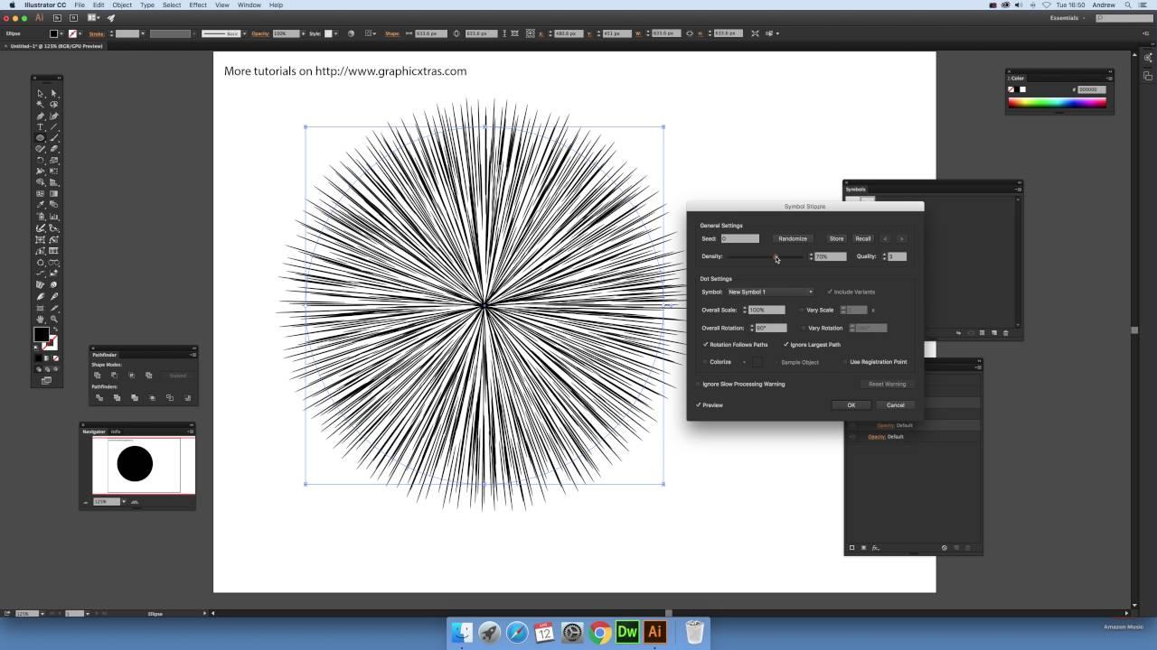How to create effect lines in Illustrator using symbol stipple plugin  (Intermediate) tutorial