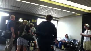 Boarding Frontier Airlines Embraer E190 at Omaha Eppley Airfield
