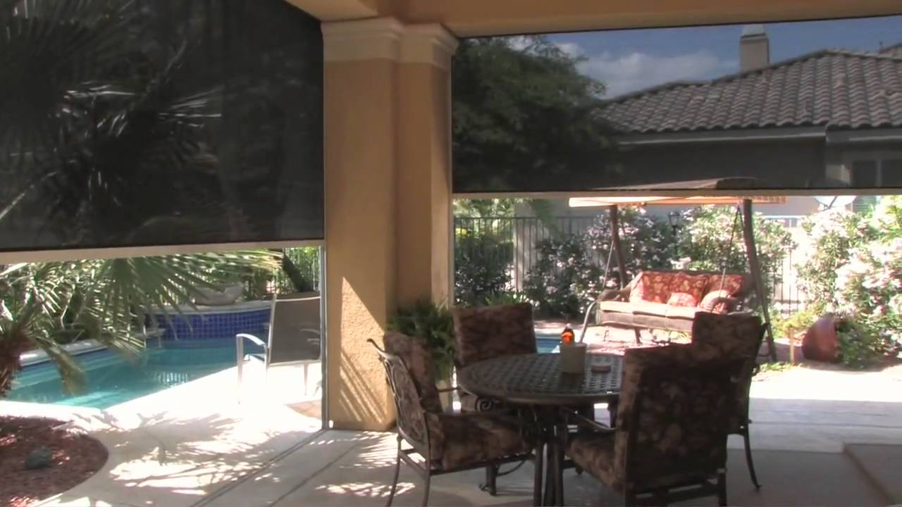 Delightful DROP SHADE Patio Shades Retractable Solar Screens Las Vegas   YouTube