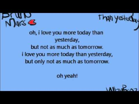 Bruno Mars - More Today Than Yesterday [lyrics]2011