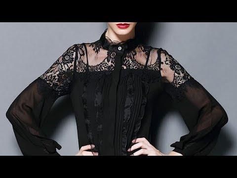 Модные черные блузки. С чем носить черные блузки. Красивые фото