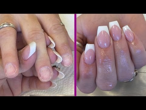 Pink & White Reverse Application Using Tips - Short Brittle Nails