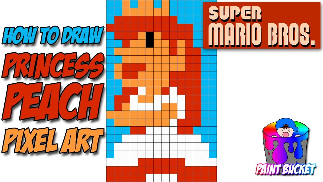 How To Draw Princess Peach Super Mario Bros Pixel Art Drawing Tutorial