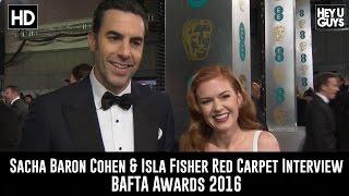 Sacha Baron Cohen & Isla Fisher Red Carpet Interview - BAFTA Awards 2016