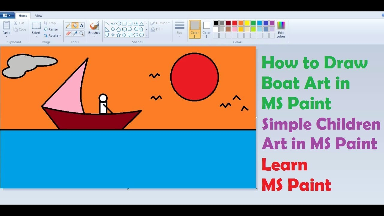 How to Draw Sea Boat in MS Paint | Simple Children Art in ...