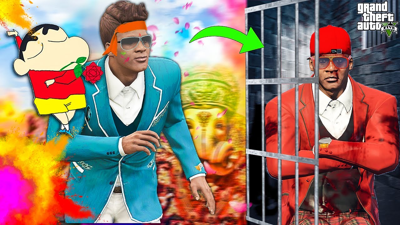 Franklin's Rich Twin Brother Got Caught But Franklin, Shinchan Celebrating GANESH CHATURTHI In GTA 5