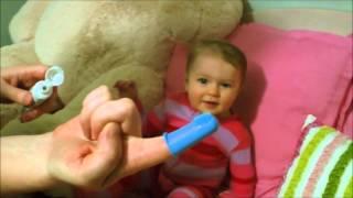 Brushing a baby