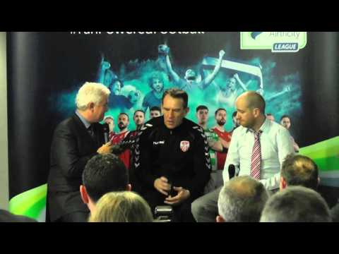 Ryan McBride and Kenny Shiels at the SSE Airtricity League 2016 Launch
