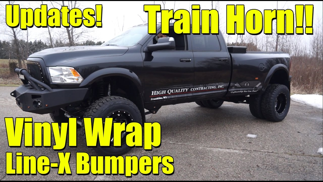 Lifted Ram 3500 >> UPDATE VIDEO! LIFTED 2017 Ram 3500 Dually! Line-X Coated Bumpers, Custom Vinyl Wrap, Train Horn ...