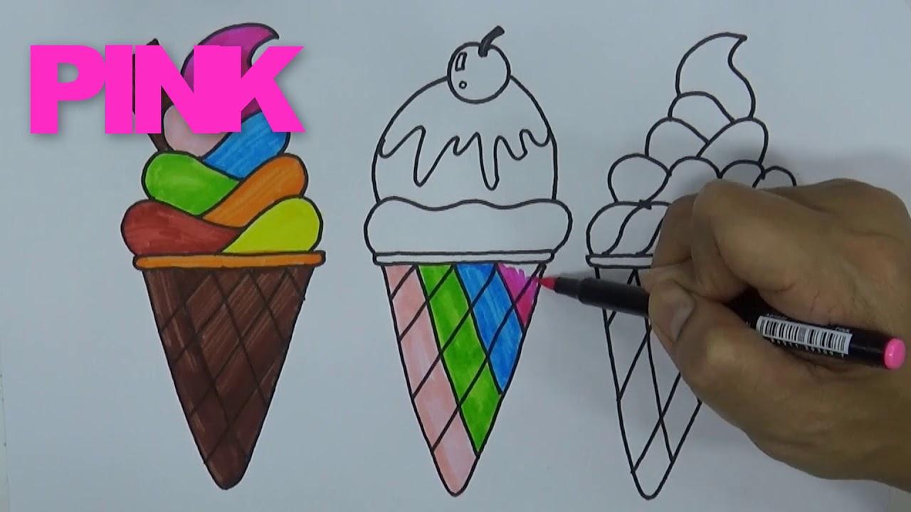 Cara Menggambar dan Mewarnai ES KRIM Menggunakan Pensil dan Spidol ...