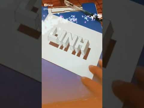 Cách vẽ chữ Linh 3D nổi trên giấy  [ Phi Art ]