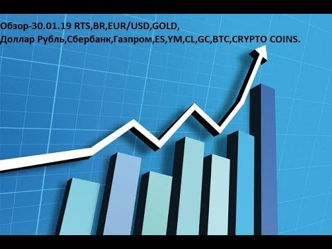 Обзор-30.01.19 RTS,BR,EUR/USD,GOLD, Доллар Рубль,Сбербанк,Газпром,ES,YM,CL,GC,BTC,CRYPTO COINS